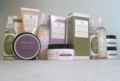 Deep Steep DEEP STEEP Body Lotion Butter Dry Body Argan Oil Spritzer YOU CHOOSE (Dry Oil Body Spritzer)