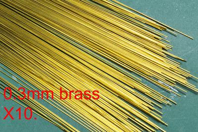 10 (Ten) pack of 0.3mm diameter brass modellers wire. 300mm lengths.