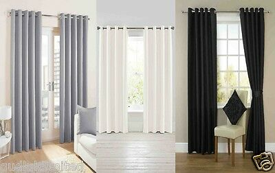 - NEW RING TOP FULLY LINED PAIR EYELET CURTAINS BLACK GREY SILVER WHITE GOLD