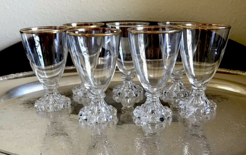 7~Vintage Gold Rimmed Cocktail Boopie Glasses Wine Cordials MCM Retro Barware