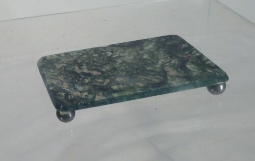 Antique Chinese Carved Hardstone Mossy Agate Jade Base Stand