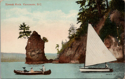 Siwash Rock Vancouver BC Boats Canoe Sailboat Postcard E34 *As Is