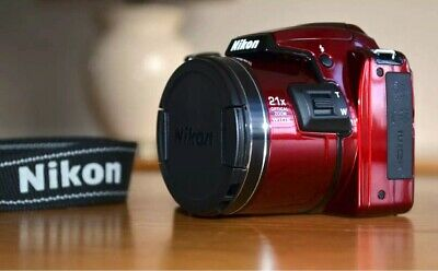 Nikon COOLPIX L120 14.1MP 21xZOOM Digital Bridge Camera Gloss Red *CAMERA BAG*