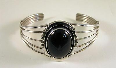 Native American Large Black Onyx Cuff Bracelet Sterling Silver Navajo