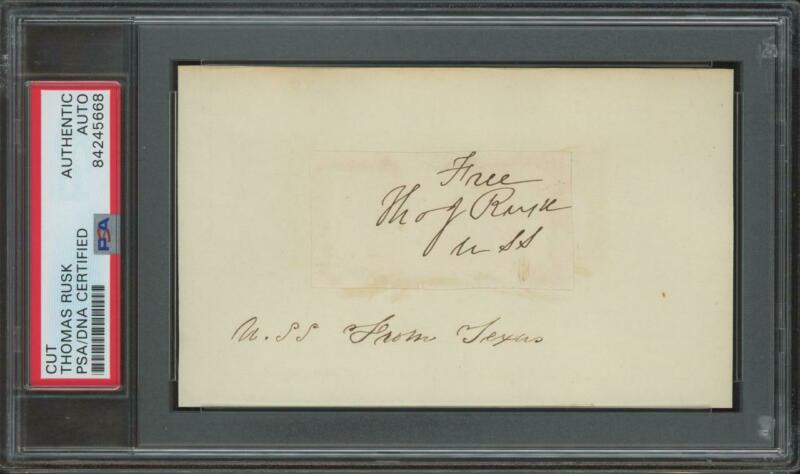 THOMAS JEFFERSON RUSK (1803-1857) autograph cut | Texas Senator - PSA/DNA signed