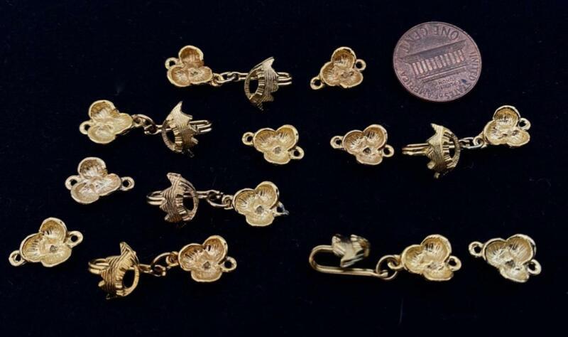 Vintage Textured Gold Tone Metal Crown & Flower Hooks Clasps Findings 6