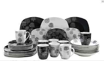 32Pc Black White Round Square Dinner Set Service Tea Porcelain Modern Crockery