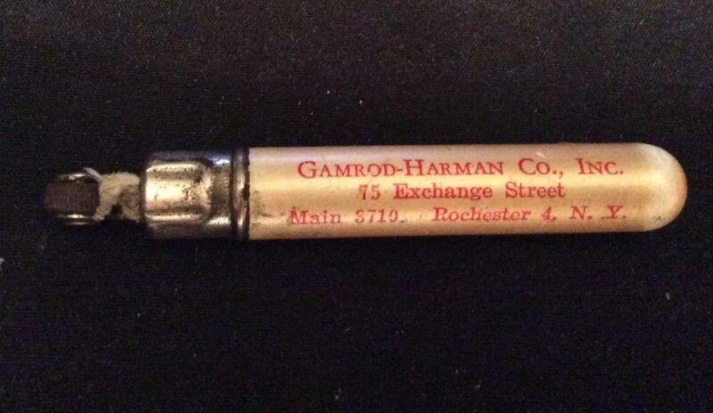 VINTAGE CIGARETTE LIGHTER/PEN SHAPED ADVERTISING GamRod Harman Co Rochester NY