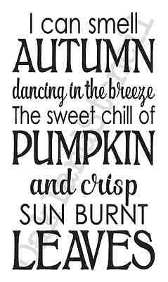 Thanksgiving Fall STENCIL**I can smell Autumn...**12x20 for Signs Fabric Canvas