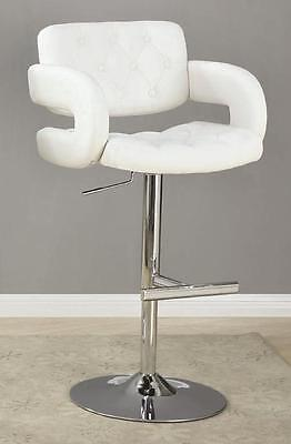 White and Chrome Adjustable Height Swivel Bar Stool Chair by Coaster 102557