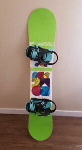 Great Snowboard and bindings both used twice since purchased