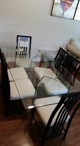 Dining table, chairs and coffee tables