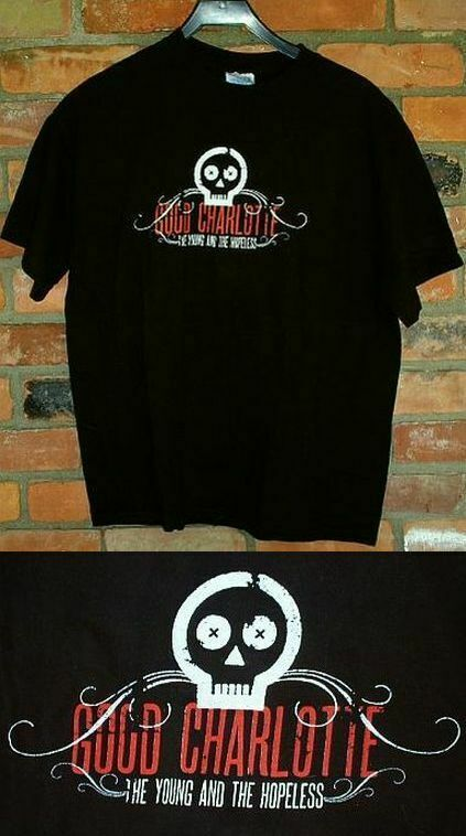 GOOD CHARLOTTE Band Music T-Shirt L THE YOUNG AND THE HOPELESS Tour 2002
