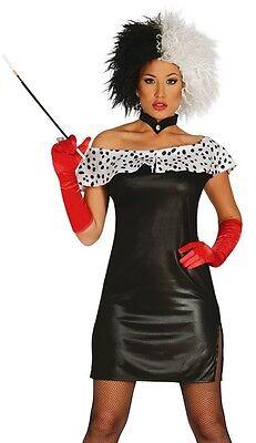 Damen Sexy Dalmatiner Film Bösewicht Halloween Karneval 12-18 ()