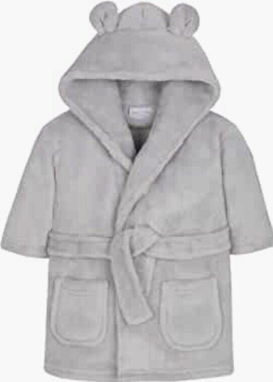 Babytown Dressing Gown Soft Plush Hooded Bath Robe Gray Sz. 18-24 Months NEW