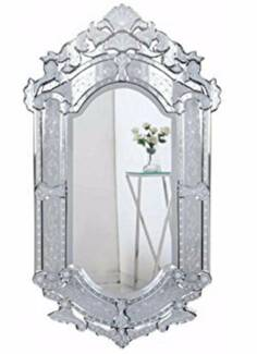 Elegant Handmade Venetian Wall Mirror in Clear Finish