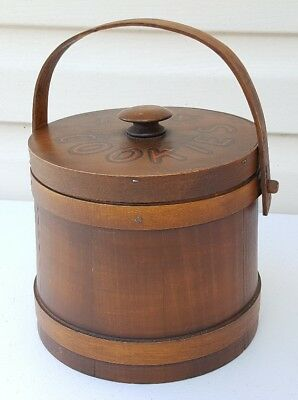 Vintage Wooden Pine Shaker Style Firkin Kitchen Cookie Canister (Pine Shaker)