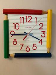 Childrens Verichron quartz wall clock in bright primary colors (11 1/4 square)