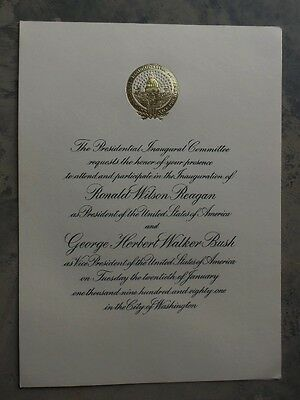 1981 Invitiation to Inauguration of Ronald Reagan and George HW Bush   Gold Seal