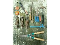 Misc. Woodwork tools, metal planes, files & garden shears