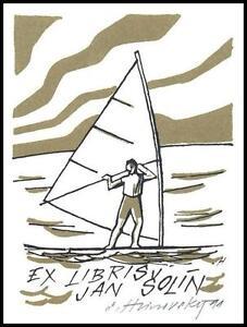 Hlinovsky Stanislav 1991 Exlibris L1 Bookplate Windsurfing Sailing s694 - <span itemprop='availableAtOrFrom'> Dabrowa, Polska</span> - Hlinovsky Stanislav 1991 Exlibris L1 Bookplate Windsurfing Sailing s694 -  Dabrowa, Polska