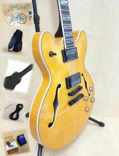 Haze SEG-272N Semi-Hollow Electric Guitar Gloss Flame Yellow +Free Gig Bag,Picks