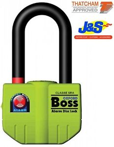 OXFORD OF3 BOSS ALARM DISC LOCK MOTORCYCLE SECURITY MOTORBIKE SCOOTER 100DB J&S