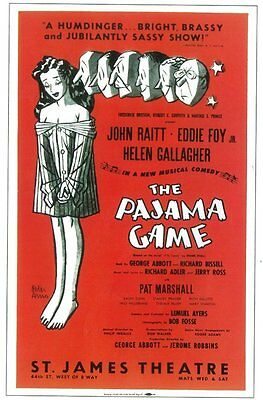 PAJAMA GAME, THE (BROADWAY) Movie POSTER 11x17 John Raitt Janis Paige Eddie Foy