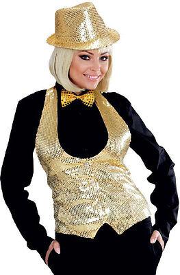 Pailletten-weste Damen (Pailletten-Weste gold für Damen NEU - Damen Karneval Fasching Verkleidung Kostüm)