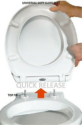 Toilet Seat Soft Close Quick Release Top Fix Hinge Easy Clean Oval Shape Durable
