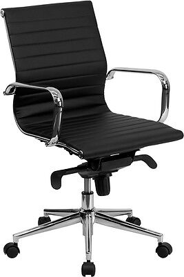 Lot Of 12 Black Leather Mid Back Conference Table Chairs Polished Aluminum Base