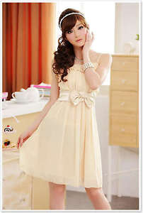 A8206 Japan Korea Fashion Women Ladies Beige Pleat Bow Chiffon Cocktail Dress