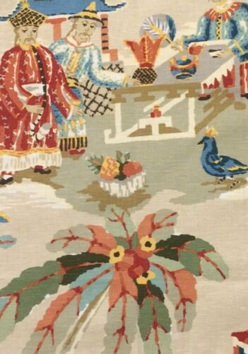 BRUNSCHWIG & FILS XIAN chinoiserie linen cotton print France new remnant