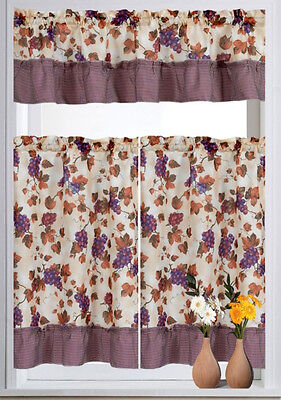 grapes printed kitchen curtain set 3pc ebay