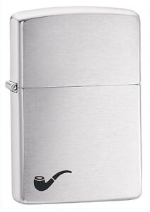 Zippo Brushed Chrome Pipe Lighter With Pipe Lighter Insert,  200PL, New In Box