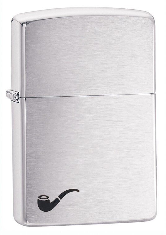 Zippo Brushed Chrome Pipe Lighter With Pipe Lighter Insert,