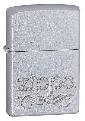 Zippo Windproof Satin Lighter With Zippo Scroll Logo, 24335, New In Box