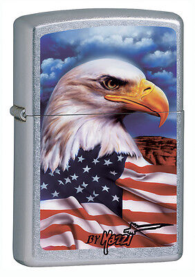 Zippo Windproof Mazzi Bald Eagle and American Flag Lighter, 24764, New In Box