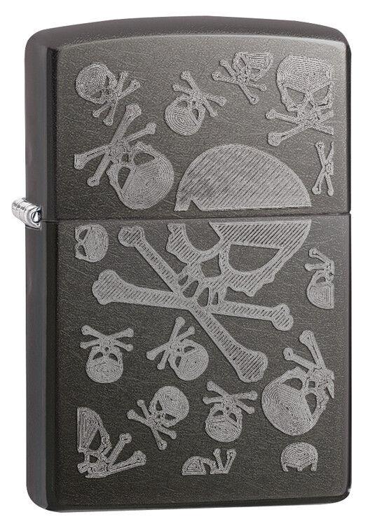Zippo Gray Dusk IcedUnder Translucent Skulls Windproof Lighter 28685 New
