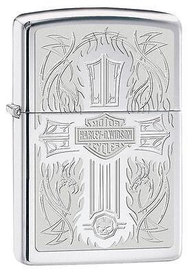 Zippo Harley Davidson Lighter With Cross & Harley Logo, 28982, New In Box