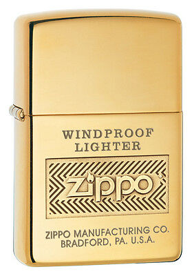 Zippo High Polished Brass Windproof Lighter With Logo, 28145, New In Box