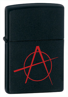 Zippo Windproof Black Matte Lighter With Anarchy Symbol, 20842, New In Box