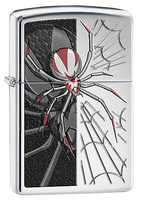 High Polished - Zippo Windproof High Polished Chrome Lighter With Spider, # 28795, New In Box