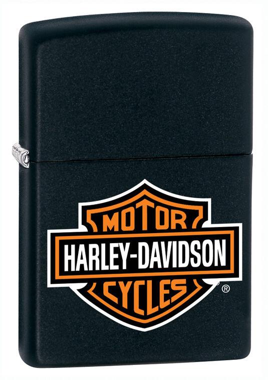 Zippo Harley Davidson Black Matte Lighter With Logo, Item 218HD.H252, New In Box