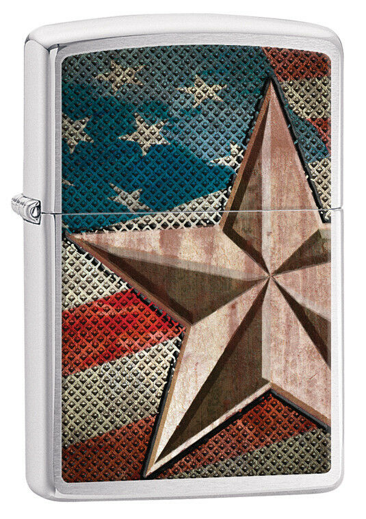 Zippo Brushed Chrome Flag With Star Windproof Lighter 28653 New