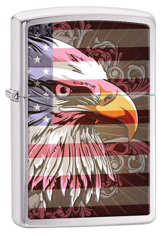 Zippo Brushed Chrome Flag With Eagle Windproof Lighter 28652 New