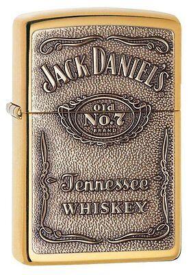 Zippo 254BJD-428, Jack Daniel's Whiskey, Emblem,  High Polish Brass Lighter