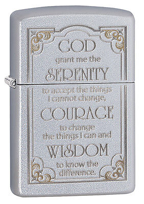 Zippo Windproof Satin Chrome Serenity Prayer Lighter , 28458, New In Box