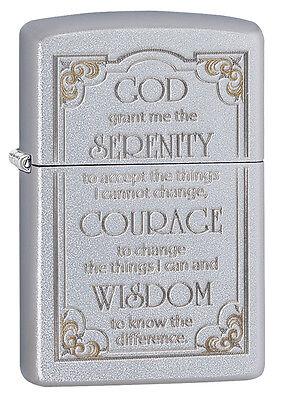 Zippo Windproof Satin Chrome Serenity Prayer Lighter , 28458, New In Box