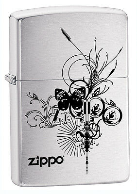 Zippo Windproof Brushed Chrome Butterfly Lighter, 24800, New In Box